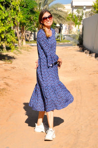 Dakota Midi Dress - Blue Animal print
