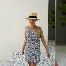 Load image into Gallery viewer, Sleeveless Shift Dress - Grey Arrows