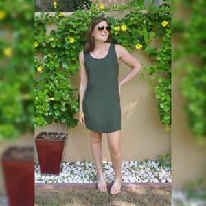 Sleeveless Shift Dress - Khaki