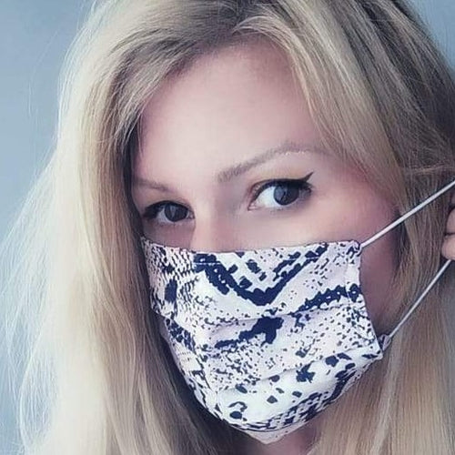 Fashion Mask - Pink & Black Snake print