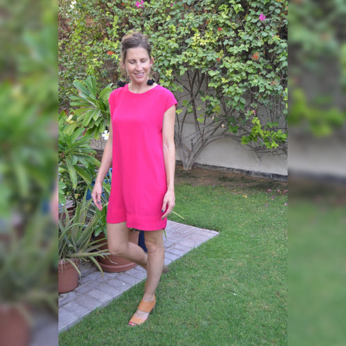 Classic Shift Dress - Hot Pink