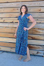 Load image into Gallery viewer, Phoenix Wrap Dress - Blue animal