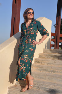 Alexandria shirt dress - Green flower
