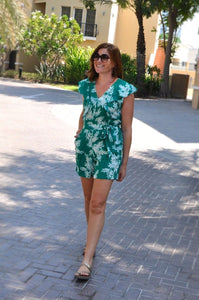 Ruffle Playsuit  - Gorgeous Green