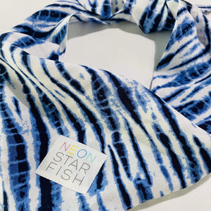 Dog Bandana - Blue & White Tie Dye
