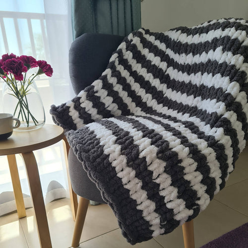 Hand Knit Monochrome blanket in black and white