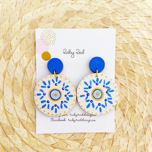 Blue, white and gold circle earrings