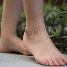 Load image into Gallery viewer, Sabyavi Body Jewellery Gold Butterfly Ankle Chain Sterling Silver
