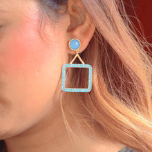 Load image into Gallery viewer, Sabyavi Earrings Blue Chalcedony & Blue Zircon Square Hoops