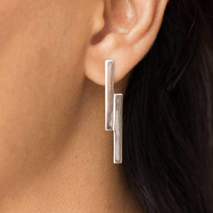 Sabyavi Earrings Gold Parallel Bar Earring Sterling Silver
