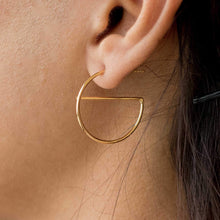 Load image into Gallery viewer, Sabyavi Hoops Gold Crescent Half Hoops Sterling Silver
