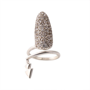 Sabyavi Nail Finger Ring with Zircons Sterling Silver