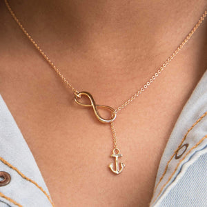 Sabyavi Pendant Rose Infinity & Anchor Chain Pendant Sterling Silver