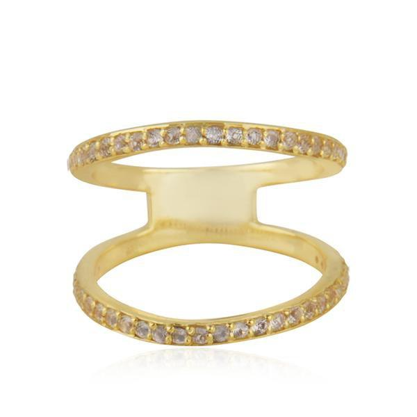 Sabyavi Ring Gold Double Band Sterling Silver
