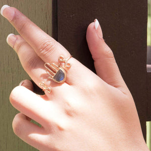 Sabyavi Ring Gold Hamsa Double Finger Ring Sterling Silver