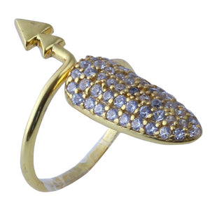 Sabyavi Tip Nail Finger Ring with Zircons