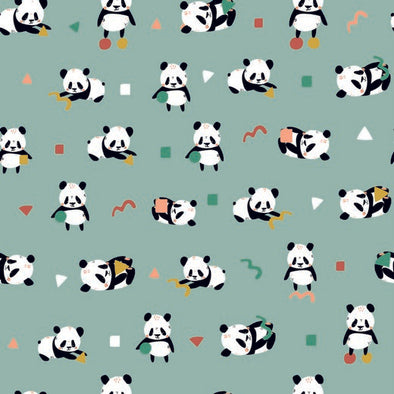 JERSEY GOTS PLAYFUL PANDA MINT