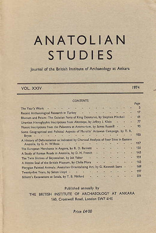 Anatolian Studies, Journal of the British Institute of Archaeology at Ankara vol. XXIV 1974, London