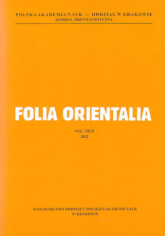 Folia Orientalia, vol. XLIX, 2012, Studia Andreae Zaborski Dedicata, Polish Academy of Sciences, Cracow 2012