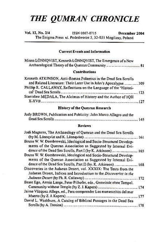 The Qumran Chronicle, Vol. 12, No. 2/4, The Enigma Press, Krakow 2004