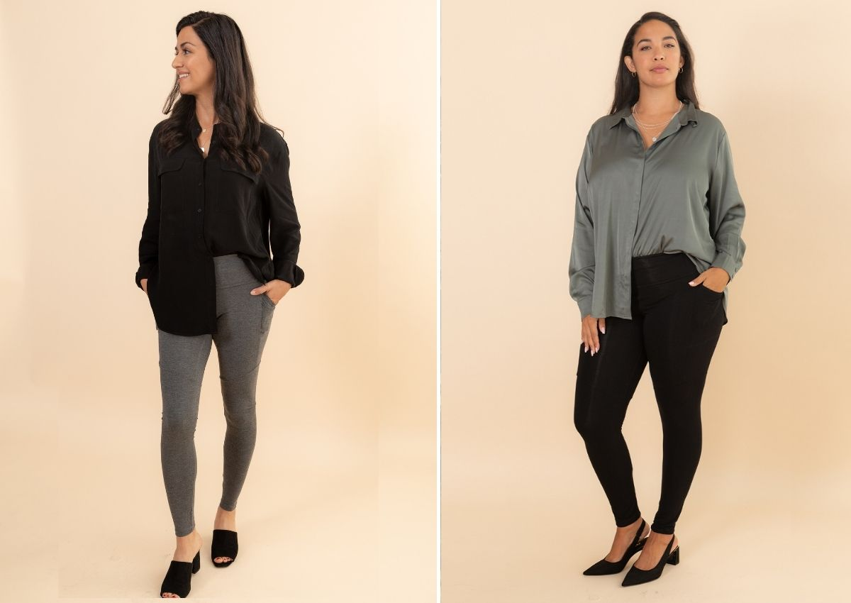 how to style leggings with long blouses