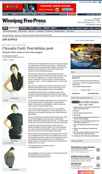 chrysalis cardi winnipeg free press encircled style