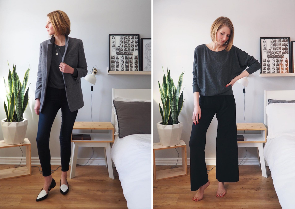 Dressy sweatshirt styled with trousers