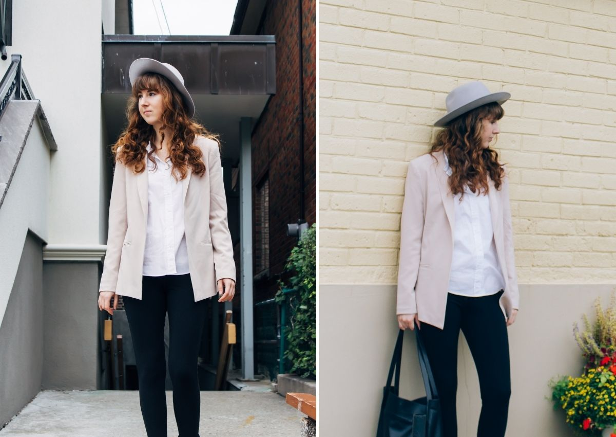 how to style leggings with a blazer