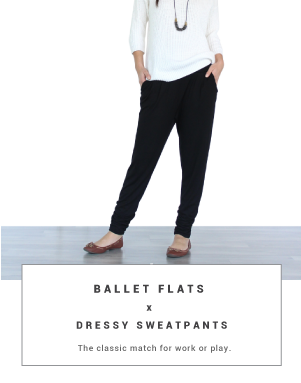 dressy sweatpants ballet flats outfits