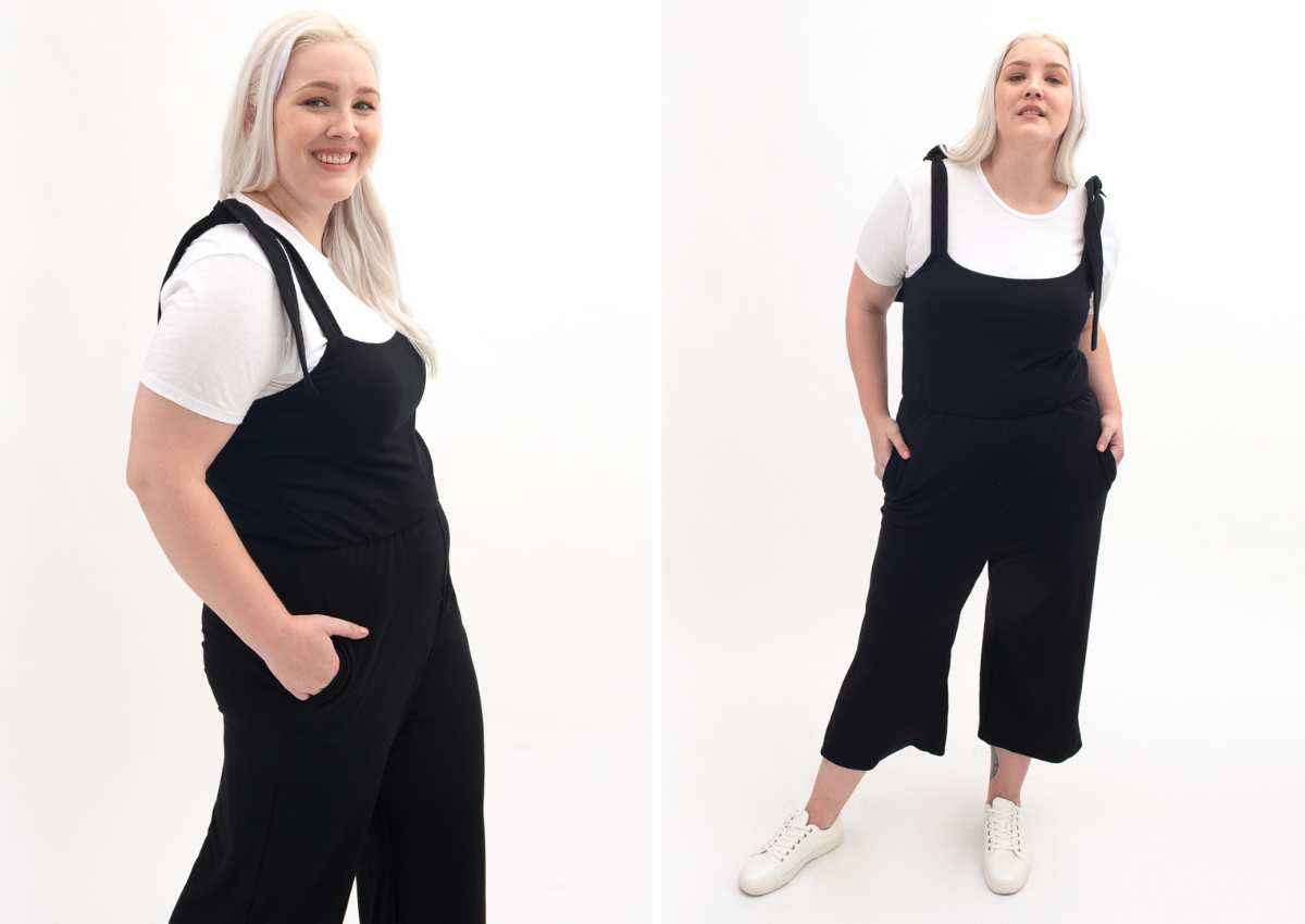 white t-shirt and black comfy convertible jumpsuit