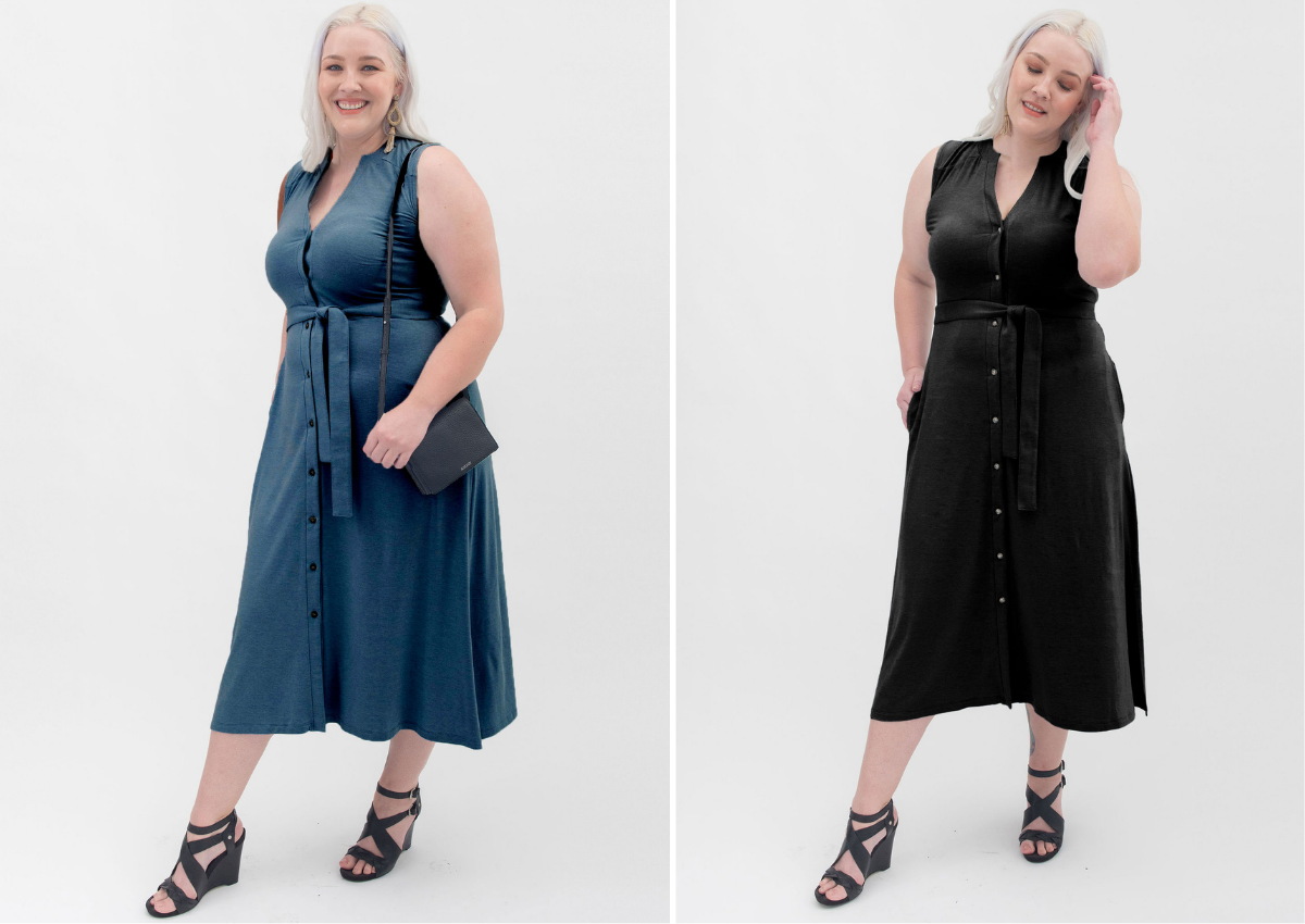 Blue Button-Front Dress styled with black heels and matching black purse