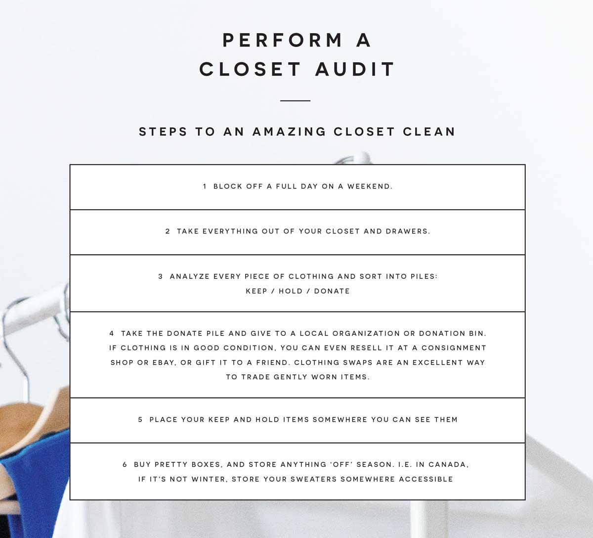 how to clear out and declutter your closet steps for a clean closet