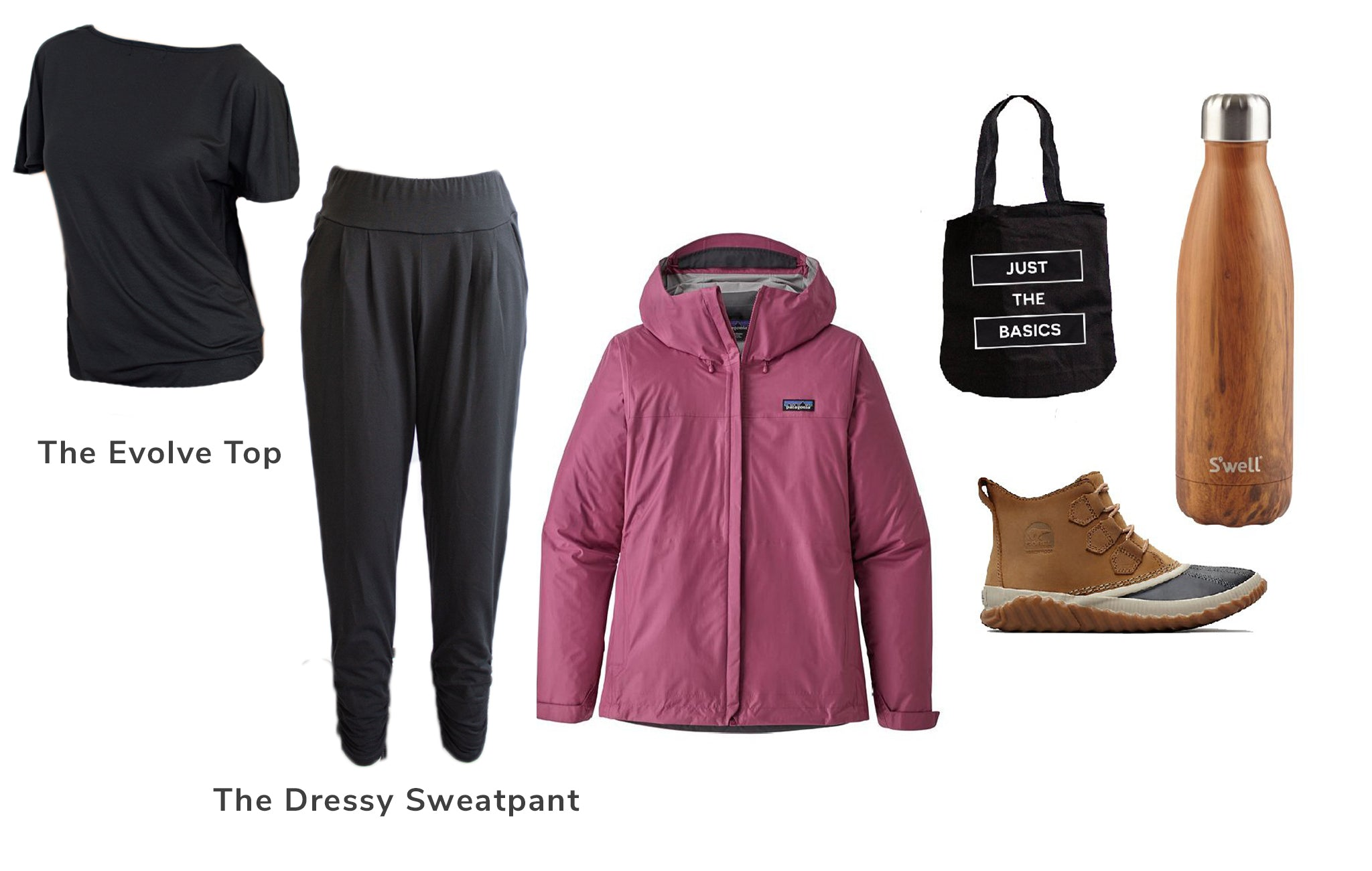 Cottage Outfit. Evolve Top, Dressy Sweatpant, Jacket, Boots