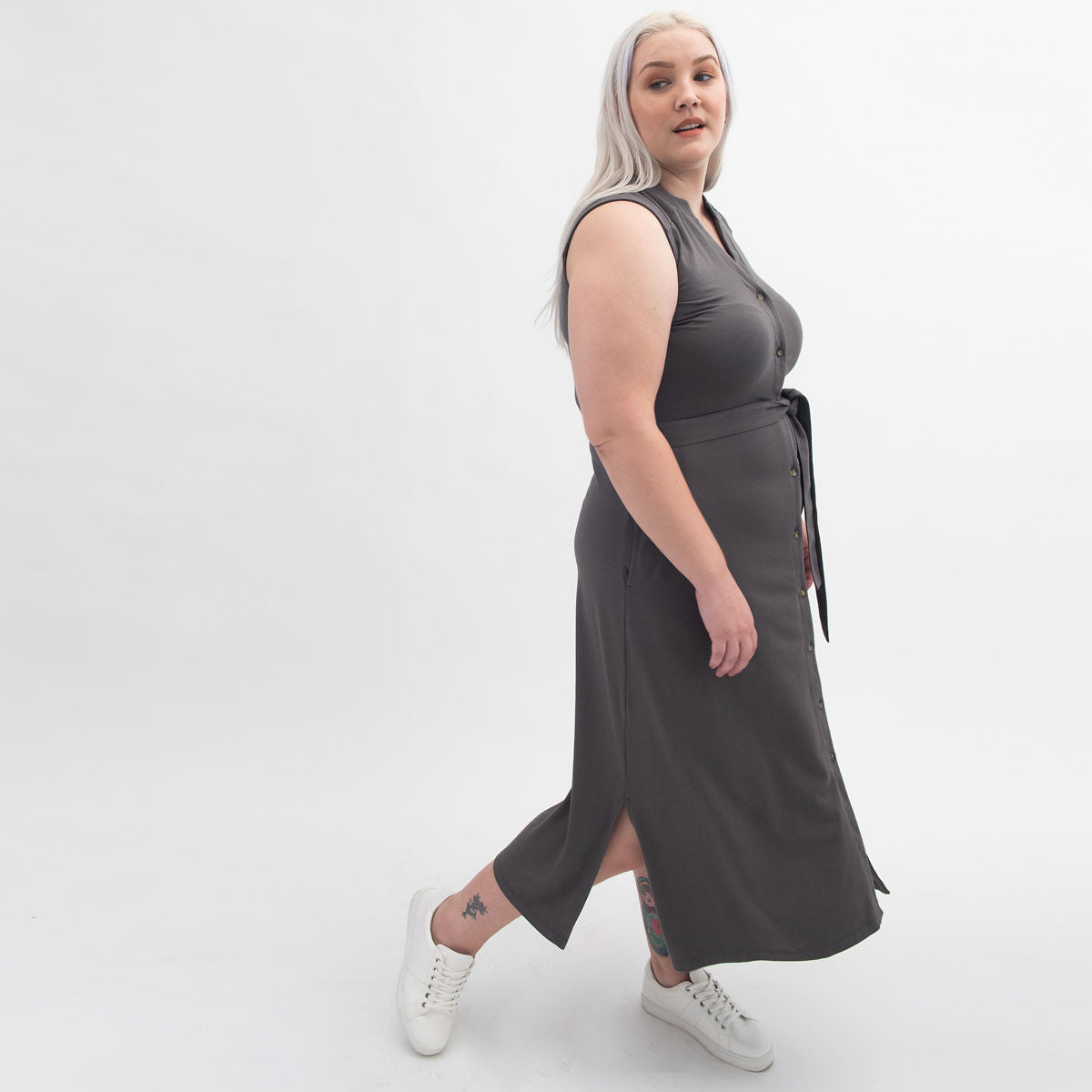 Charcoal dress with white sneakers