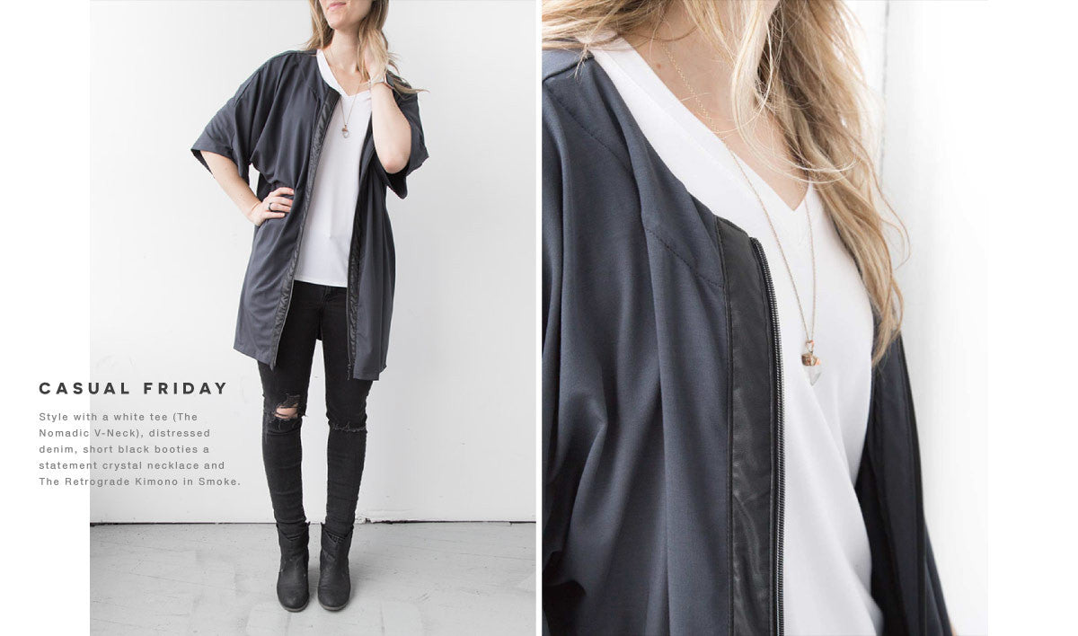 the retrograde kimono how to style with ripped distressed jeans