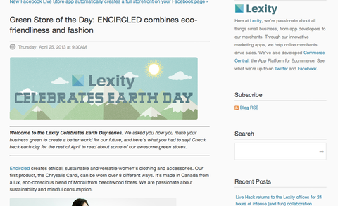 lexity green store of the day earth day