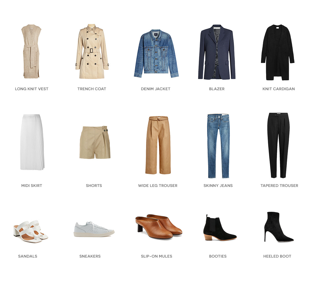 Flay lay of blue, white, khaki and denim outfit choices