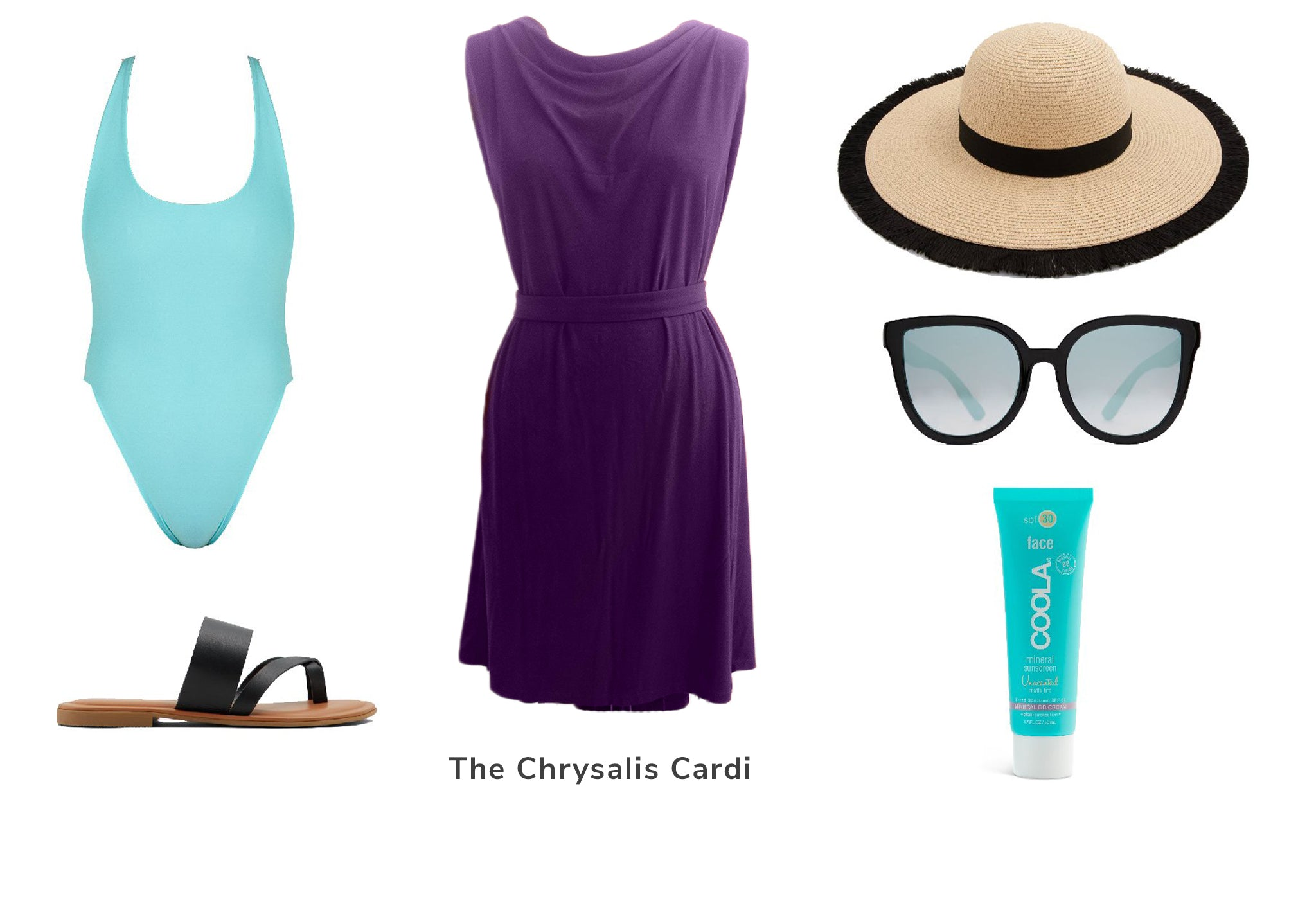 Cottage outfit, dress, swimsuit, sunglasses, hat, and sandals.