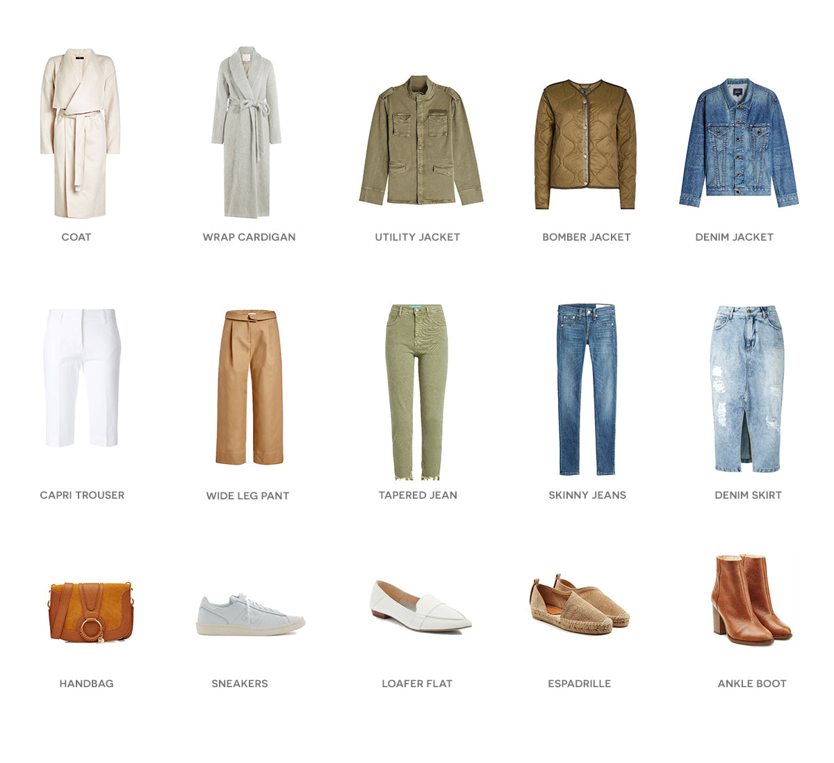 Flat lay of green, white, denim, leather and black outfits