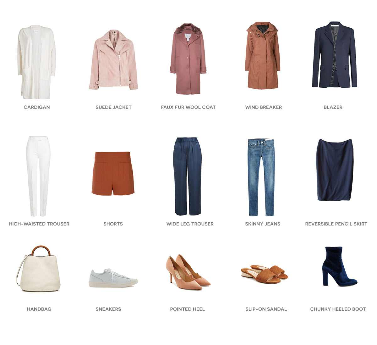 Flat lay of pink, white, wool, denim and suede outfits