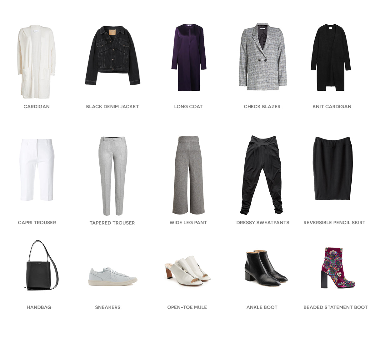 Flat lay of purple, white, black, leather and denim outfits