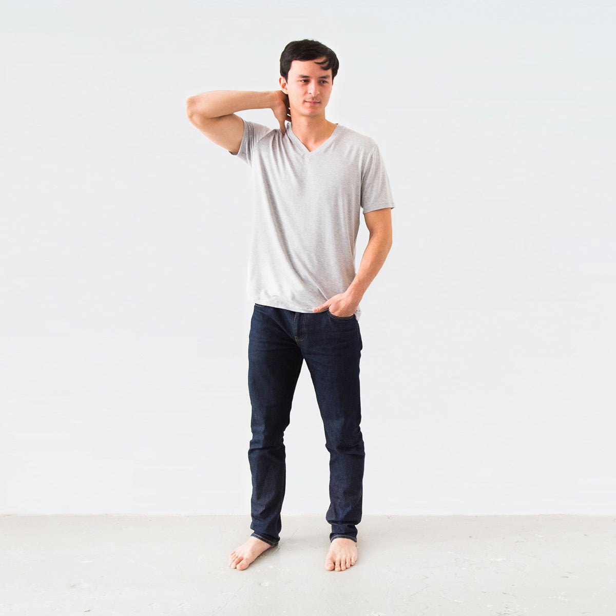 Meet the perfect men's v-neck tee. Ethically made in Canada from sustainable materials. Luxuriously soft. Shrink and fade resistant. This will be your new go-to.