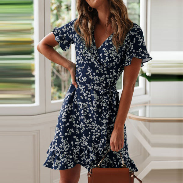 2020 Sexy V Neck Floral Print Boho Beach Dress