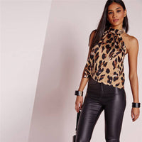 2020 Sexy Off Shoulder Leopard Blouse