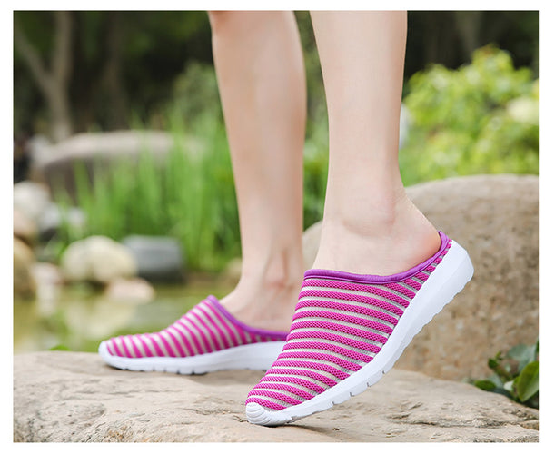 2019 Summer Casual Soft Comfortable Mesh Outside Flat Slides - Phantom Attraction