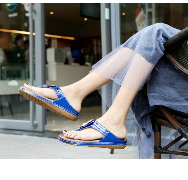 2019 Casual Crystal Flat Shoes Summer Non-slip Flip Flops - Phantom Attraction