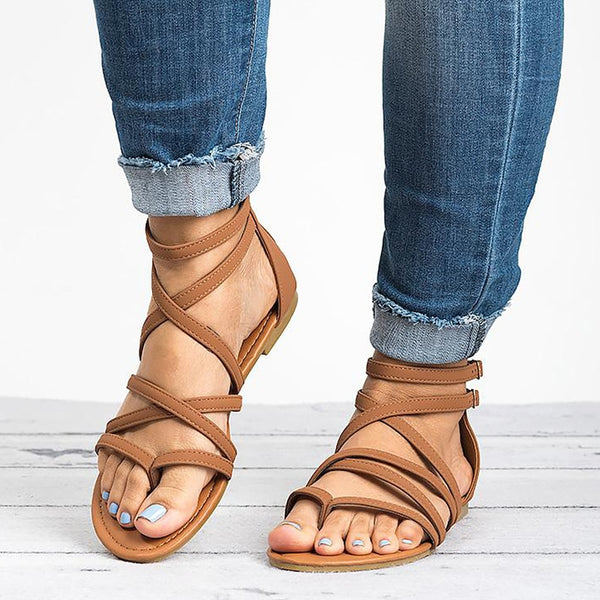 2019 Rome Style Summer Gladiator Sandals With Zip - Phantom Attraction