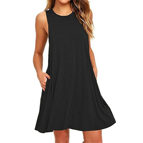 2019 Summer Cotton Sleeveless Beach Black Dress - Phantom Attraction