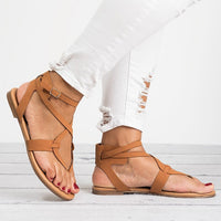 2019 Soft Bottom Flat Sandals PU Leather Summer Shoes - Phantom Attraction
