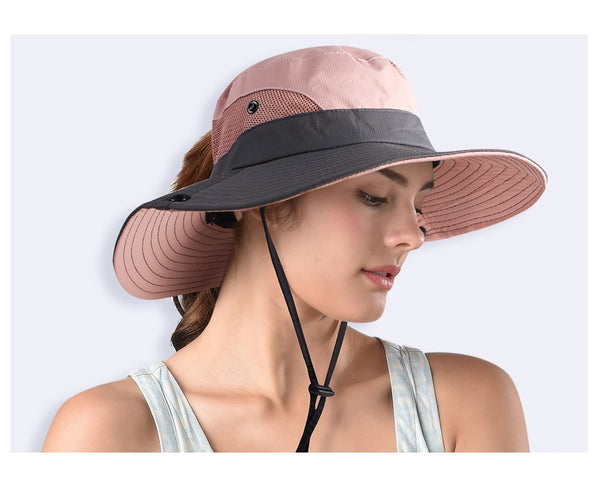 2019 Safari Summer Sun Wide Brim Ponytail Outdoor Hat - Phantom Attraction